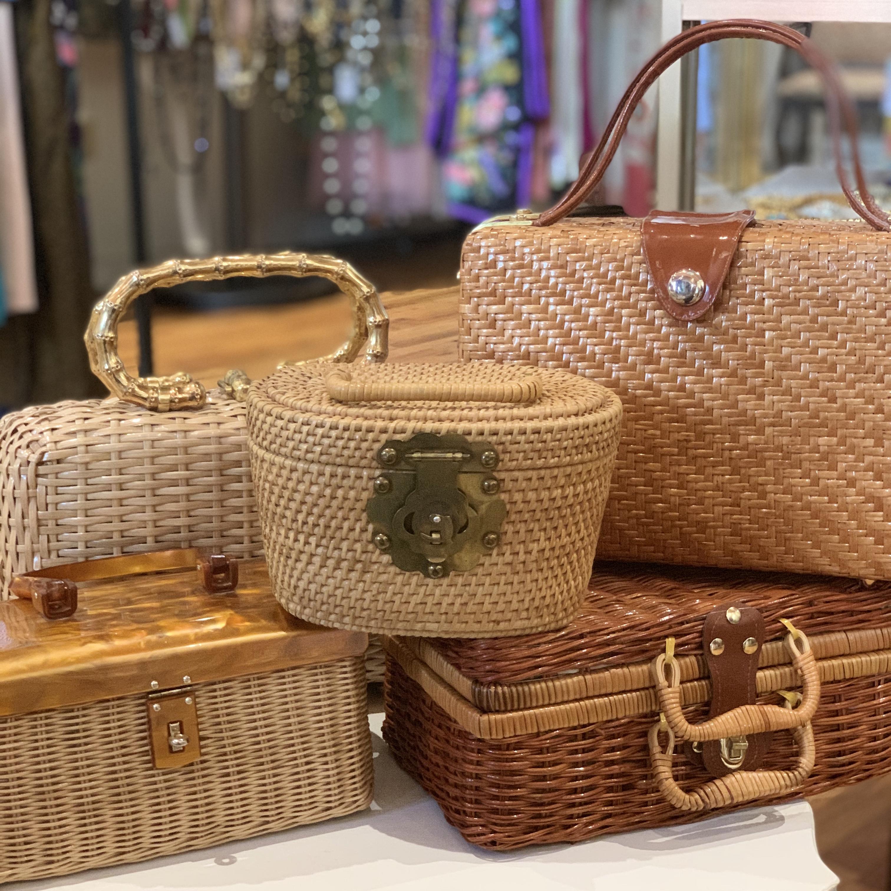 mid-century basket purses