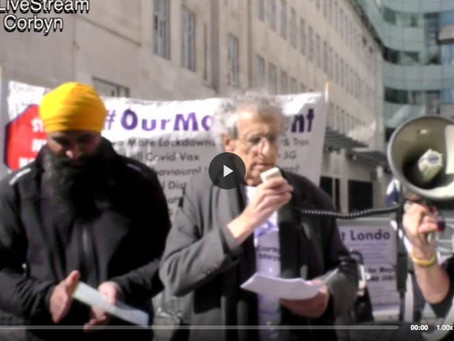 Piers Corbyn Rally demanding fair reporting from the BBC 02.04.21
