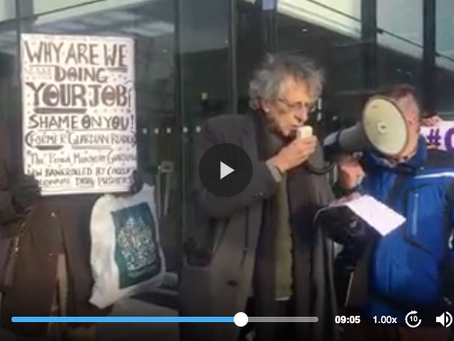 Piers Corbyn's war on vax speech outside The Guardian offices 8.12.20