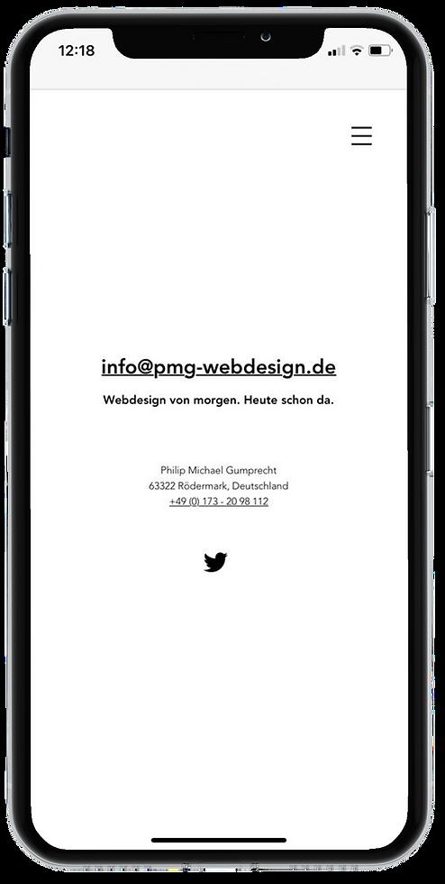 PMG Webdesign Kontakt on iPhone X Responsive Design © Philip Michael Gumprecht