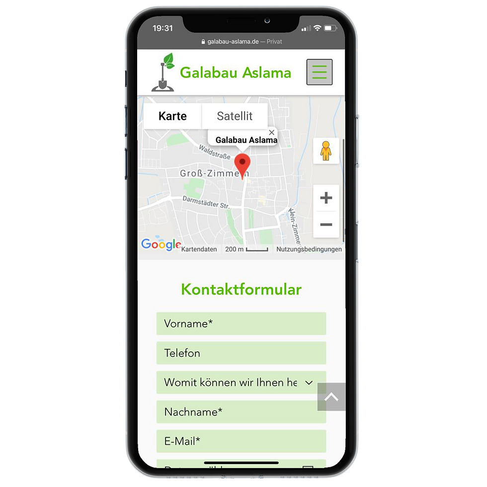 Galabau Aslama Kontakt + Google Maps Responsive Design on iPhone X © Philip Michael Gumprecht