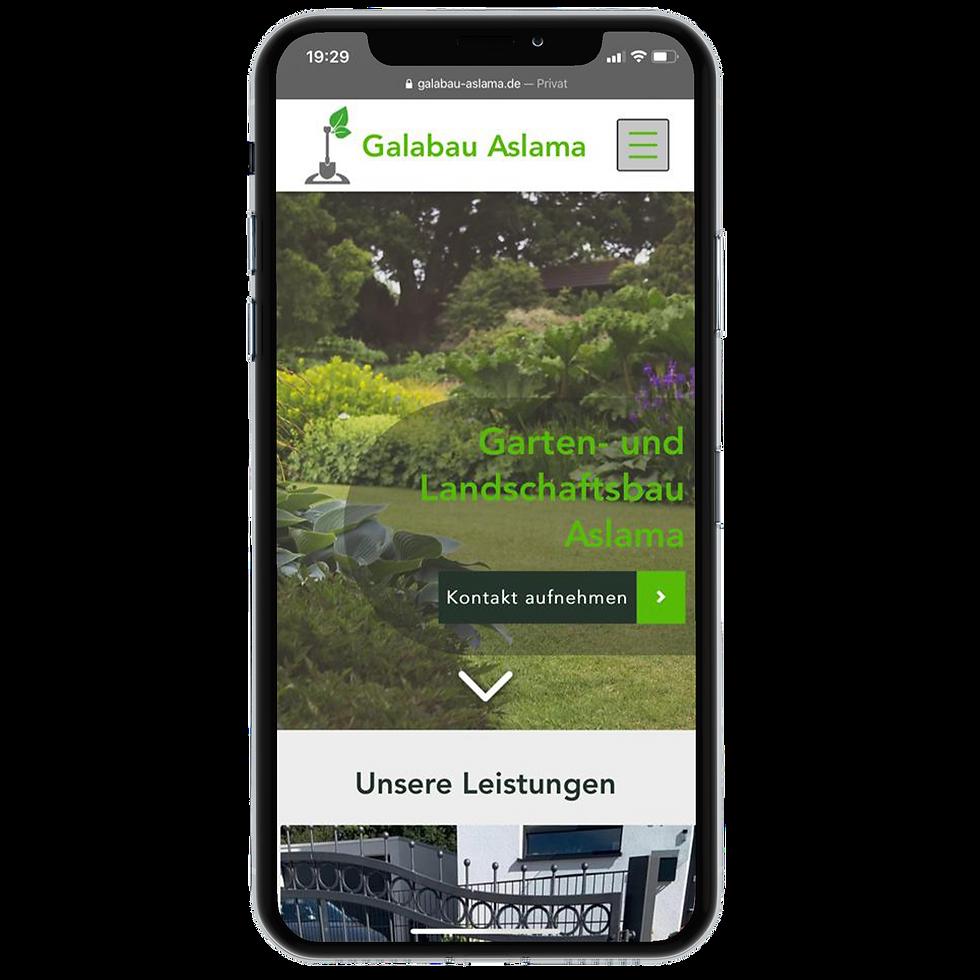 Galabau Aslama Homepage Responsive Design on iPhone X © Philip Michael Gumprecht