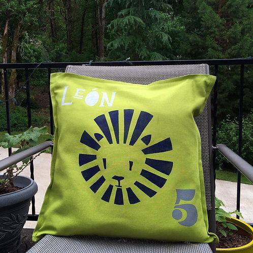 green lion pillow