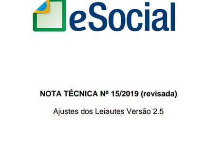 eSocial - Nota Técnica 15/2019