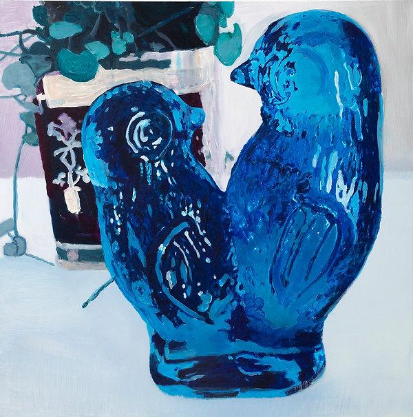 blueburds_90x90cm_oil&pastel_onaluminum.