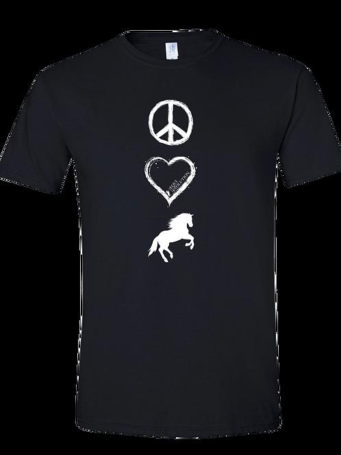 Black Peace Love Horses T-shirt