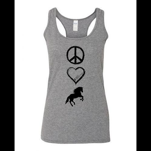 Gray Peace Love Horses Tank