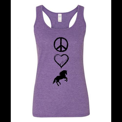 Purple Peace Love Horses Tank