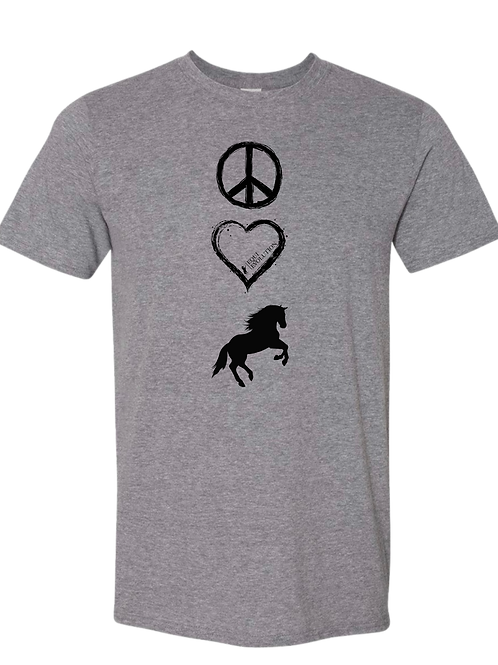 Gray Peace Love Horses T-shirt