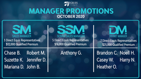 8 Sales Managers, 7 Senior Sales Managers and2 District Managers Promoted in October 2020!