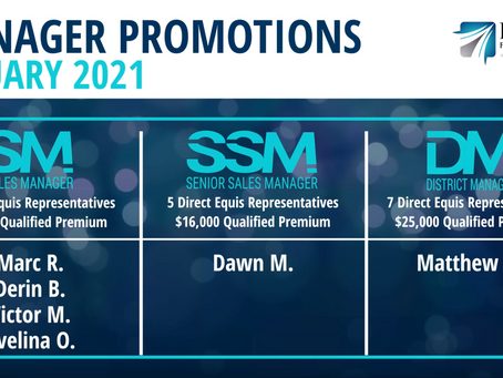 4 Sales Managers, 1 Senior Sales Manager, and 1 District Manager Promoted in January 2021!