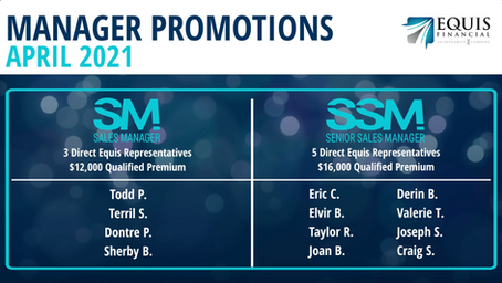 4 Sales Managers and 8 Senior Sales Managers Promoted in April 2021!