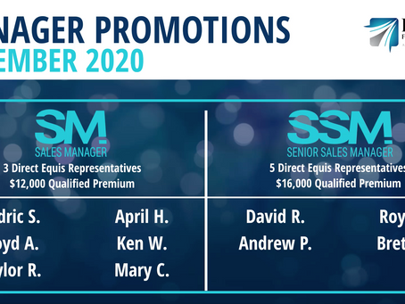 6 Sales Managers and 4 Senior Sales Managers Promoted in November 2020!