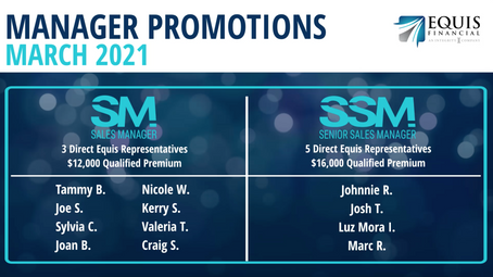 8 Sales Managers and 4 Senior Sales ManagersPromoted in March 2021!