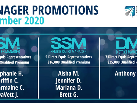 4 Sales Managers, 4 Senior Sales Managers, and 1 District Manager Promoted in December 2020!