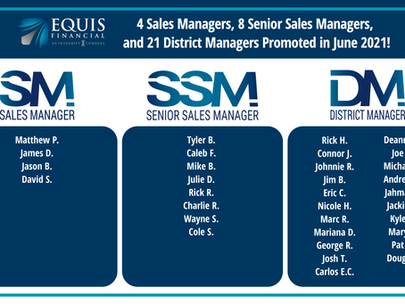 4 Sales Managers, 8 Senior Sales Managers, and 21 District Managers Promoted in June 2021!
