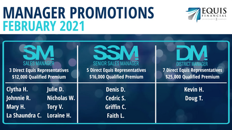 8 Sales Managers, 1 Senior Sales Manager, and 1 District Manager Promoted in January 2021!