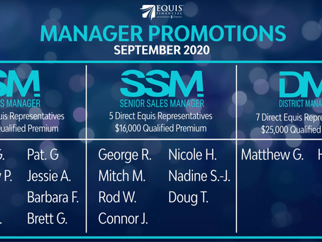 8 Sales Managers, 7 Senior Sales Managers and2 District Managers Promoted in September 2020!