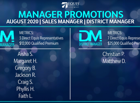 7 Agents Promoted to Sales Manager and 2 Agents Promoted to District Manager in August 2020!