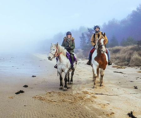 Horse riding on the beach in Tain