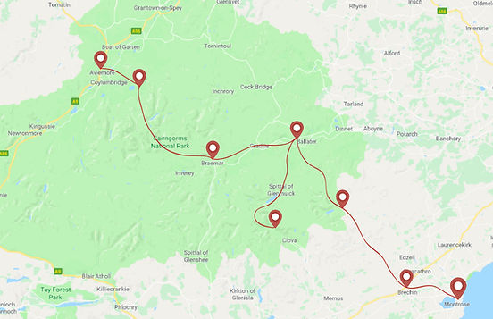 Route for Cairngors horse trek