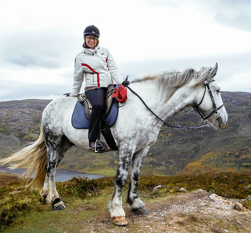A happy rider on horseback