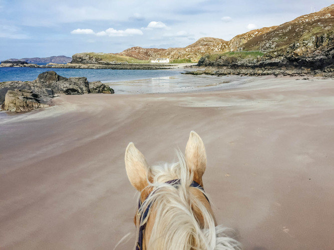 Riding on Clashnessie beach