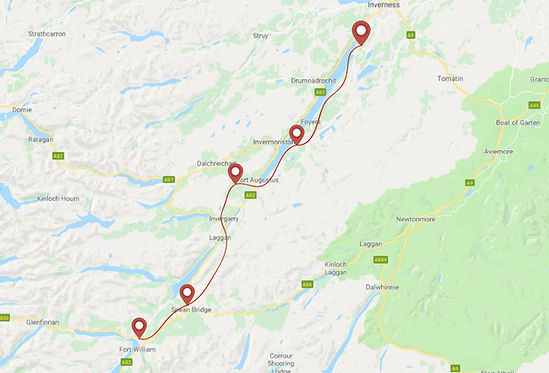 Route for Great Glen ride