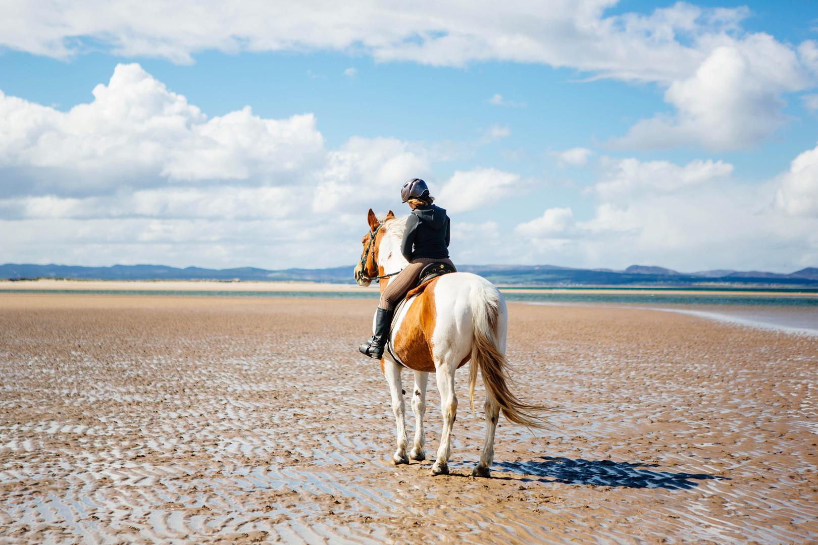 Celeste riding Ginny at Portmahomack