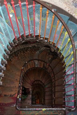 Image: Photograph from the book, a colorful stairwell