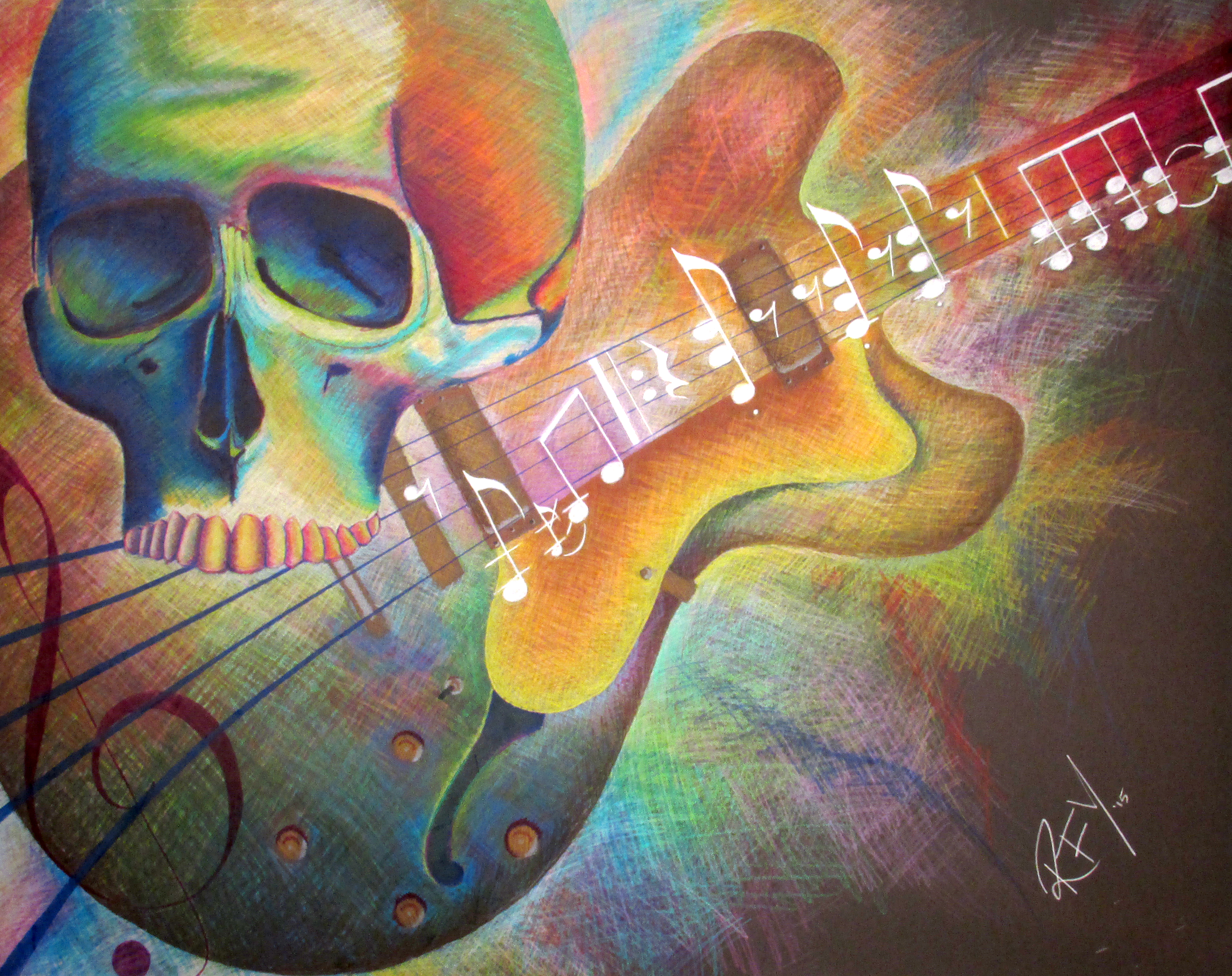 Colorful Guitar and Skull Drawing