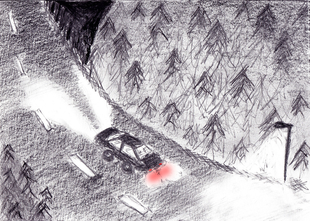Sketch of car driving in a dark forest