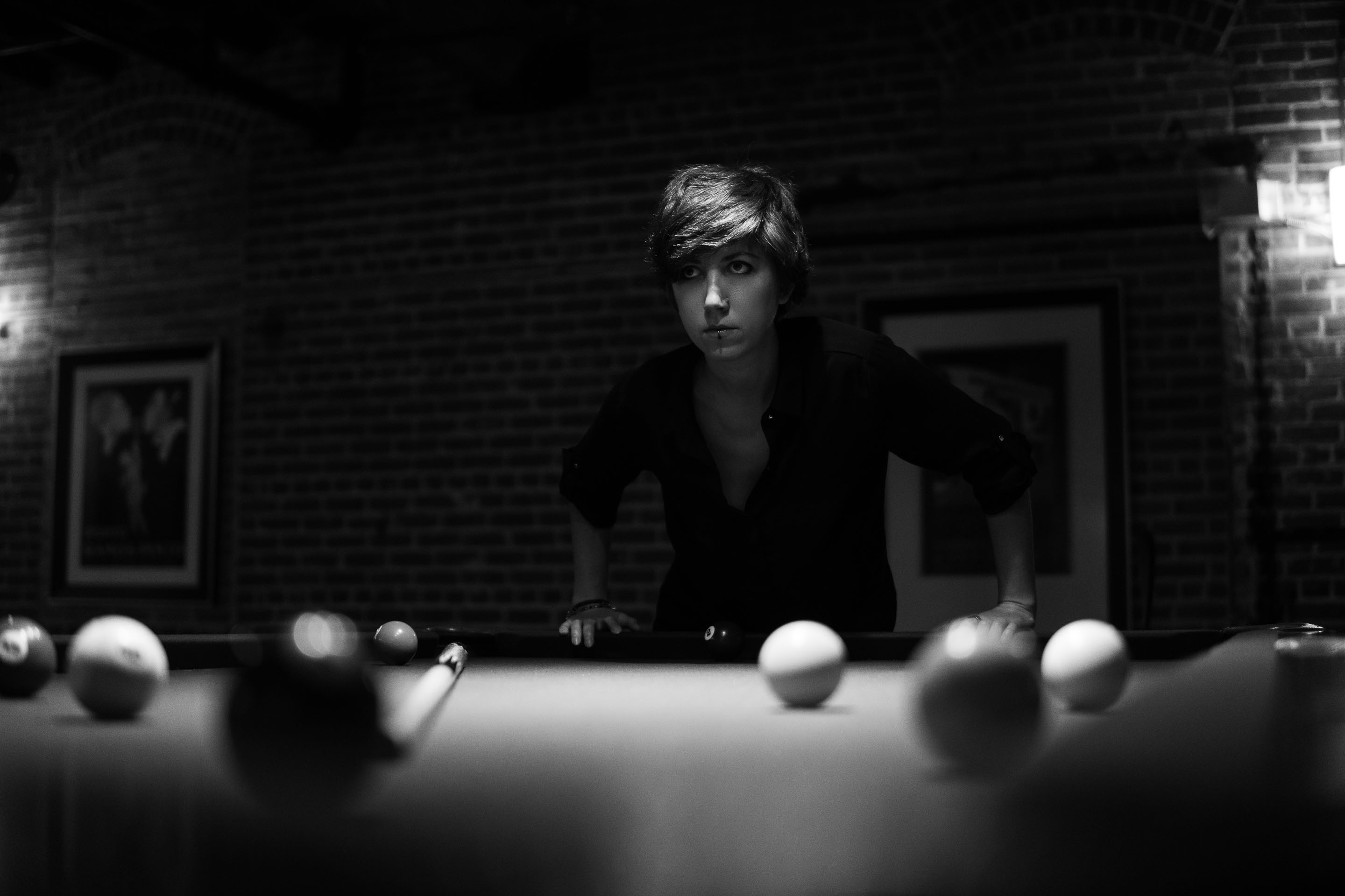 Reema Yeager Modeling Pool Table
