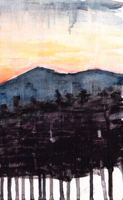 Image: Cover of the book, watercolor painting, a sunset behind mountains