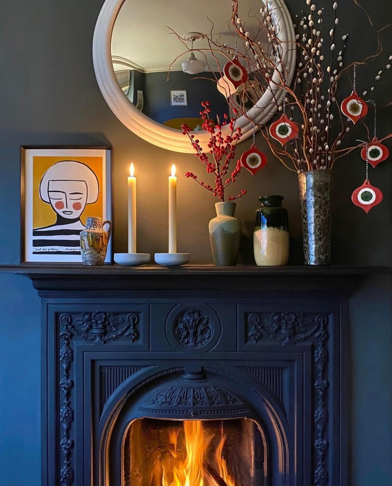 cast iron Victorian fireplace dark decor mid-century pottery collection