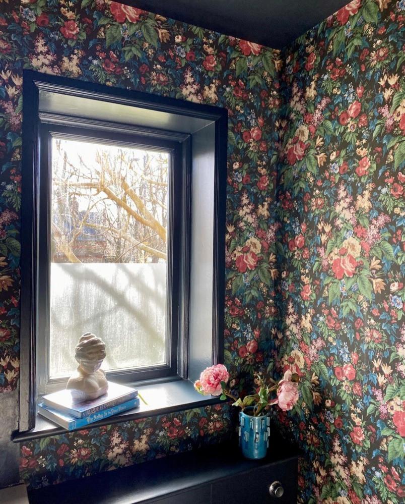 dark bold eclectic decor floral wallpaper pearl lowe dark ceiling dark paint work