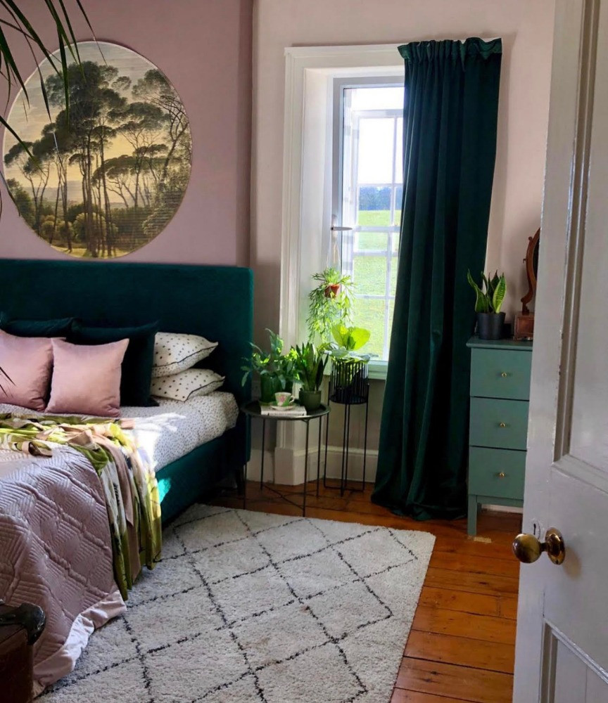 pink and green bedroom grounding sheet