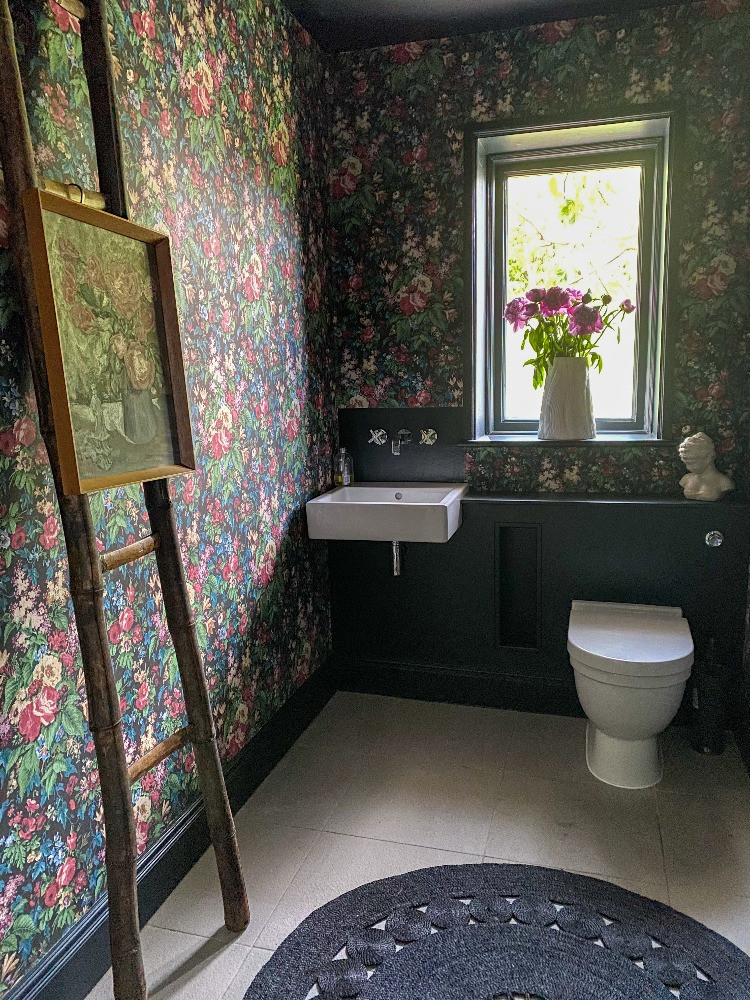 dark floral wallpaper pearl lowe WC faded glamour