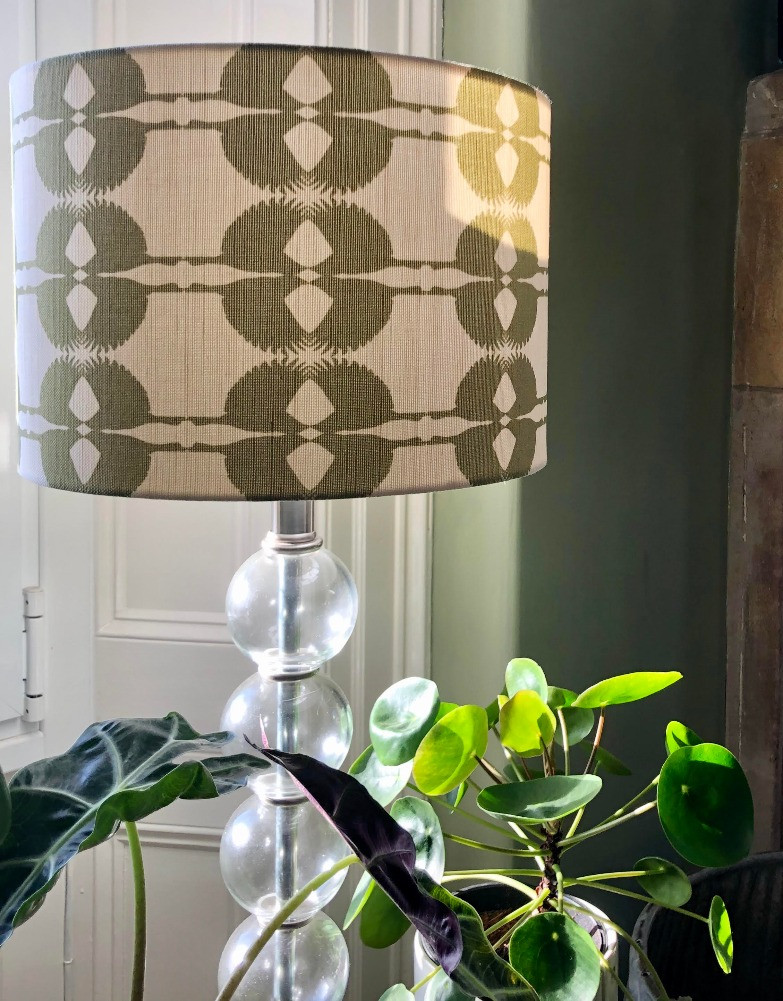 Olive Sparrow design lampshade glass lamp base pilea