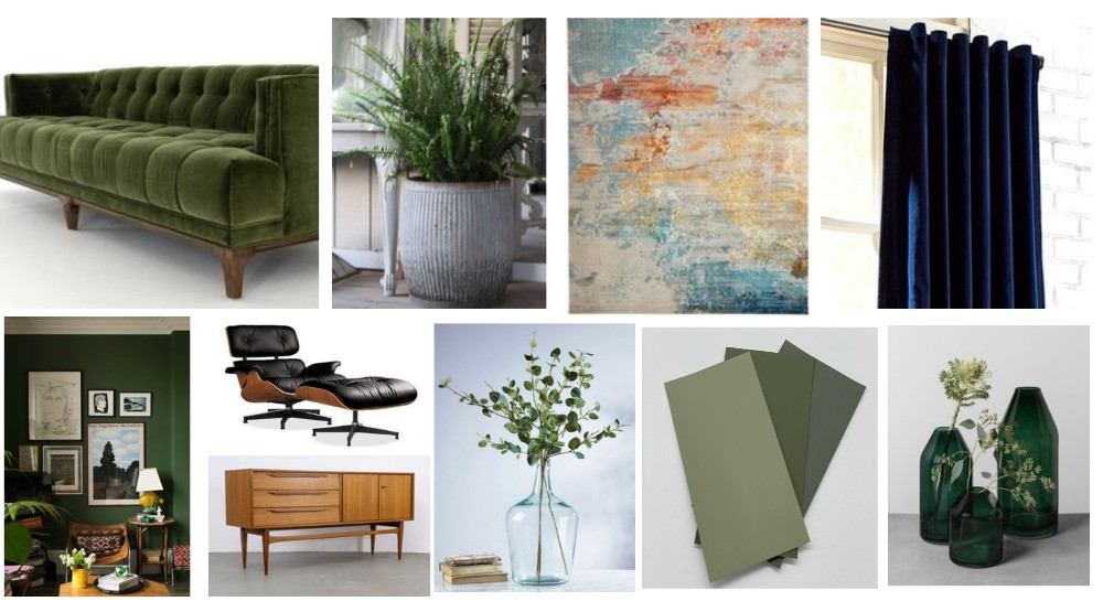 green velvet sofa dolly tub painterly rug navy velvet curtains midcentury furniture green paint gallery wall