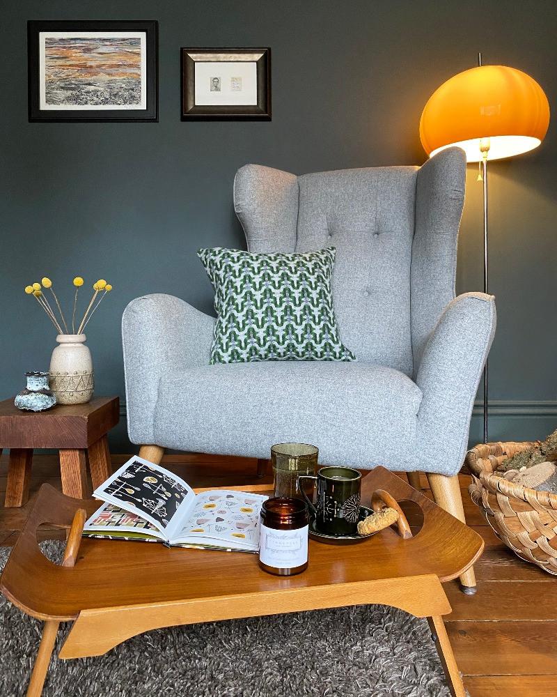 mid 60's lamp mid-century modern dark decor grey living room Victorian house interior inspiration hand weaved cushions sally weatherill