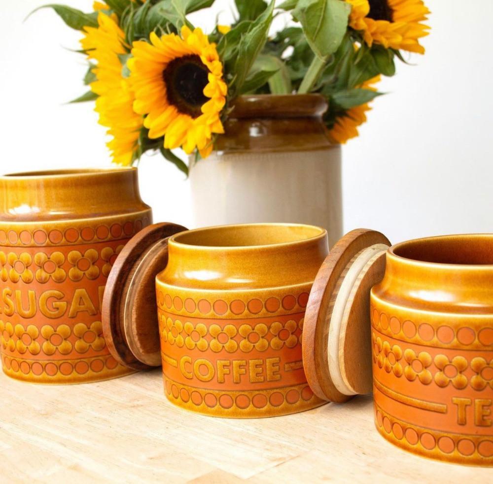 hornsea tea coffee sugar pots retro vintage orange