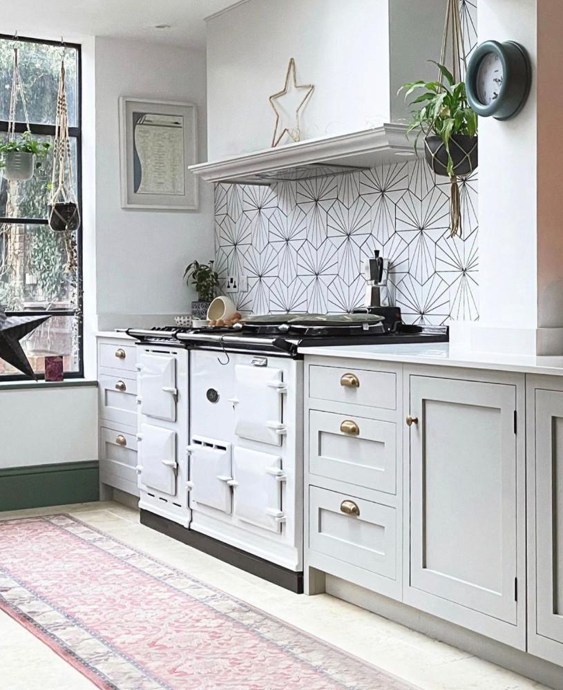white aga lily pad tiles kitchen design ideas