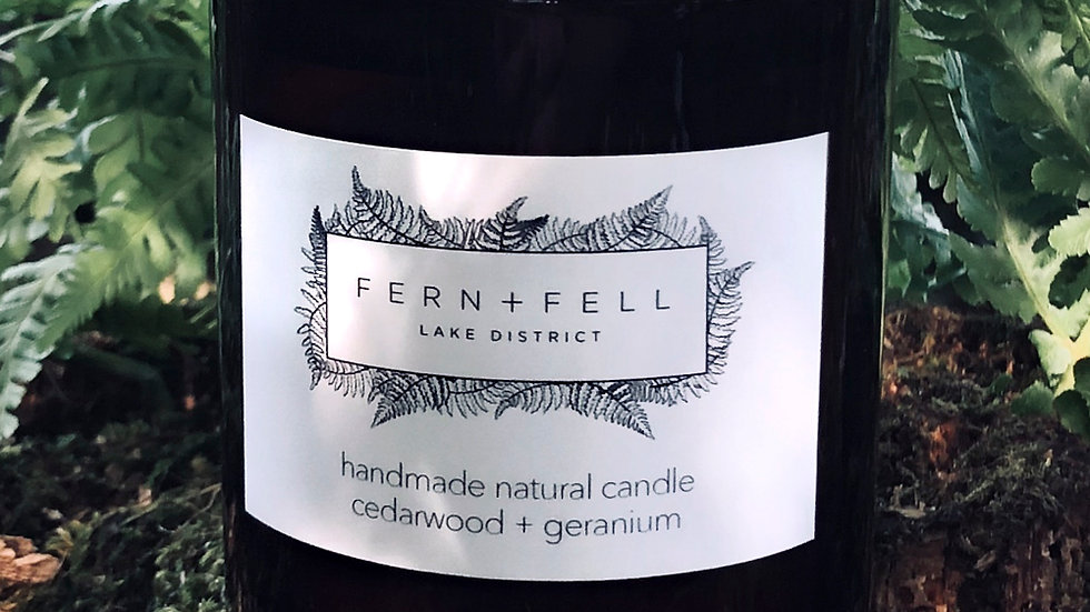 cedarwood + geranium candle