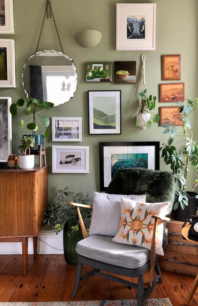 gallery wall mid century chair nature inspired prints vintage marquetry wooden artwork