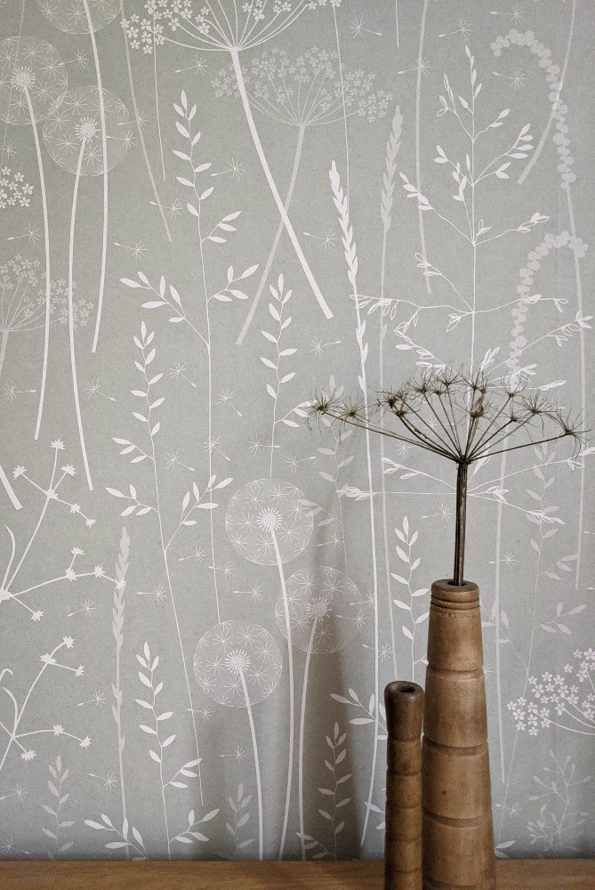nature inspired meadow wallpaper delicate flowers grasses design