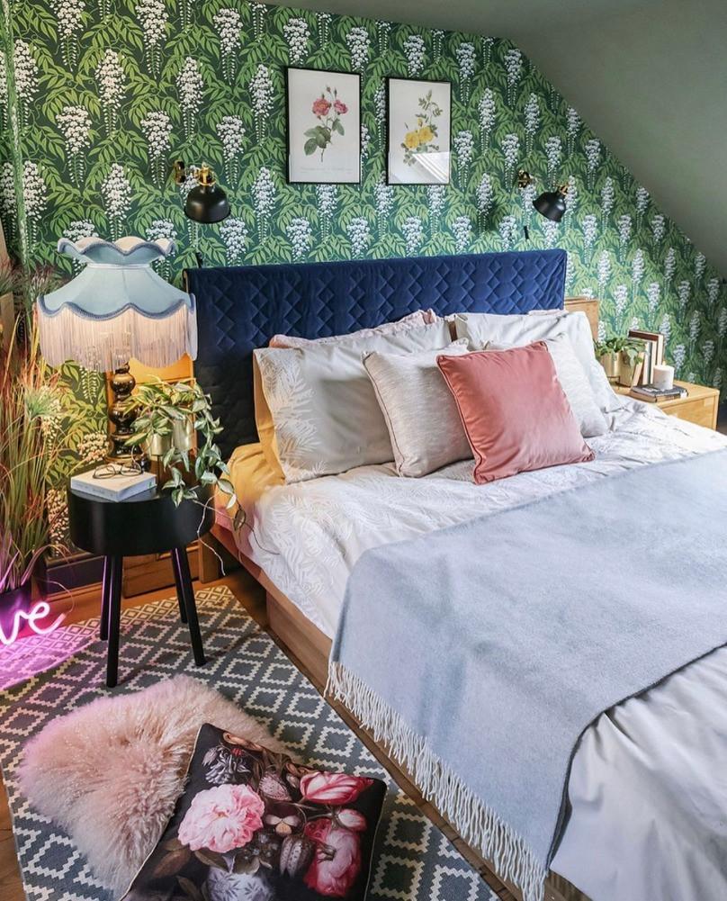 bedroom decor wisteria wallpaper green fiona howard