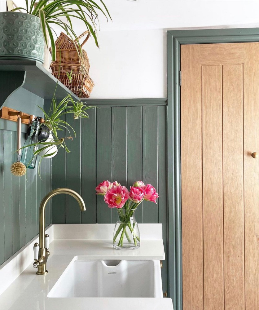 green tongue and groove utility room