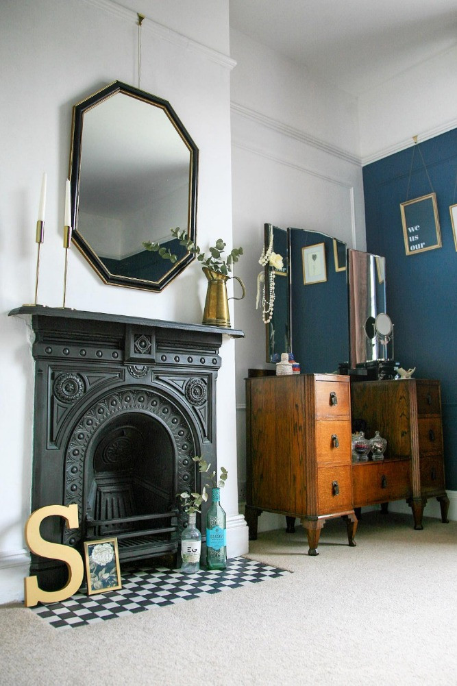 Period fireplace vintage furniture bedroom
