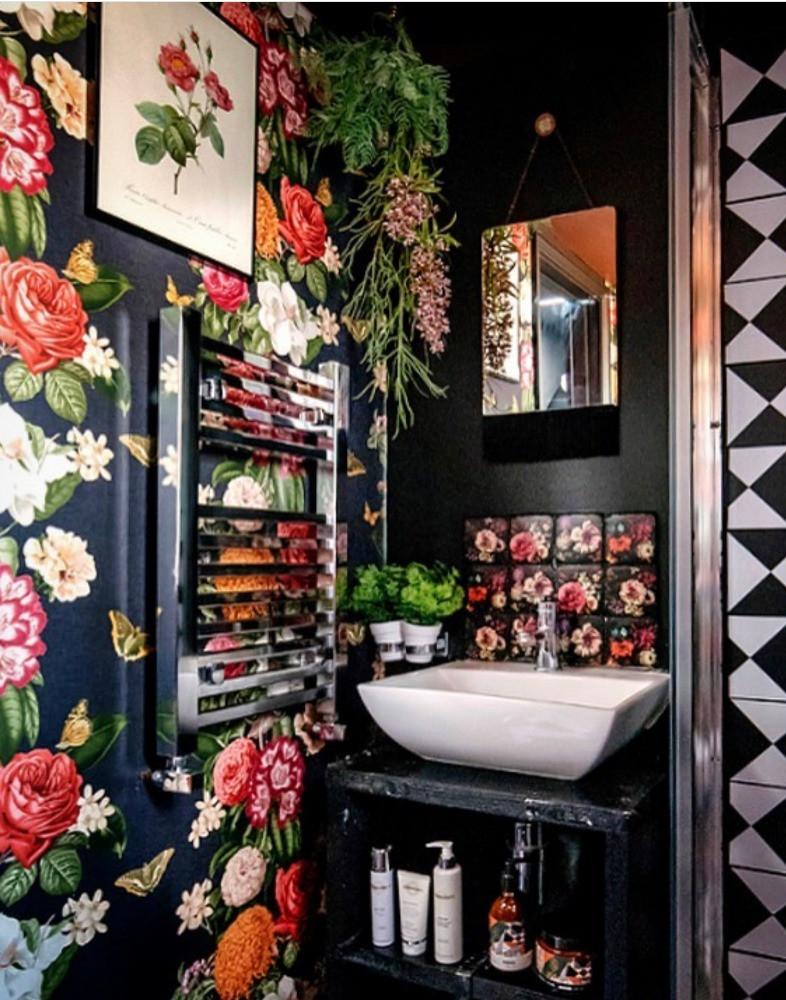 dark floral bathroom monochrome pattern floor maximalist decor